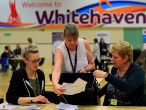 Counting is under way in the Copeland by-election at Whitehaven Sports Centre in Cumbria