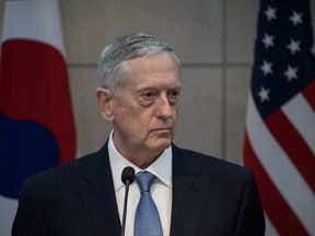 US Defence Secretary James Mattis attends a joint briefing with his South Korean counterpart Han Min-Koo at the Defense Ministry in Seoul on February 3, 2017