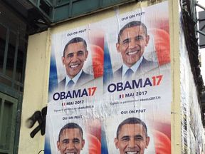Organisers have put up posters in France promoting their Obama2017 campaign