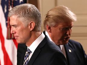 RTX2Z3321 Feb. 2017Washington, UNITED STATESU.S. President Donald Trump announces his nomination of Neil Gorsuch to be an associate justice of the U.S. Supreme Court as Gorsuch (R) stands with his wife Marie Louise at the White House in Washington, D.C., U.S., January 31, 2017. REUTERS/Carlos Barria