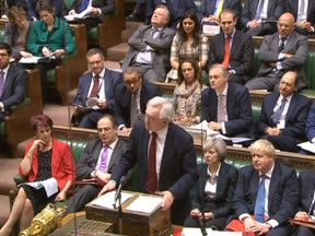 Brexit Secretary David Davis speaks in the House of Commons, London during the second reading debate on the EU (Notification on Withdrawal) Bill
