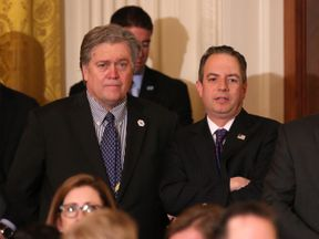 Steve Bannon (L) and White House Chief of Staff Reince Priebus