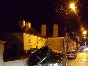 A garden trampoline on a car in Edenderry, Ireland