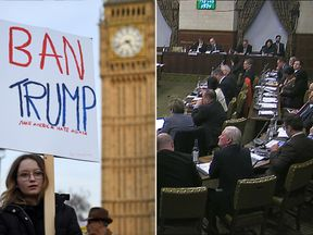 Protests are taking place outside Parliament where MPs are debate Donald Trump's visit