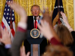 Donald Trump launches a broadside at the media during a news conference lasting one hour and six minutes