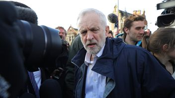 Jeremy Corbyn visits Stoke by-election victory rally. Pic: Getty