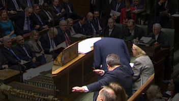 Tom Watson does the dab during Prime Minister's Questions