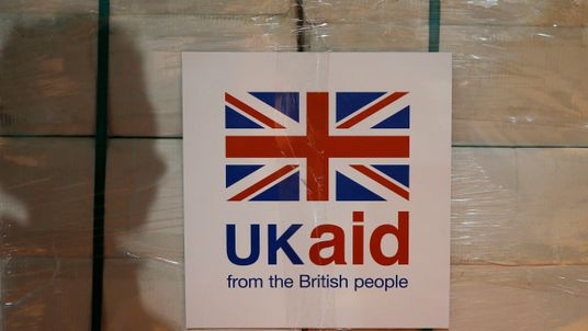 File photo dated 14/8/2014 of a UK aid label
