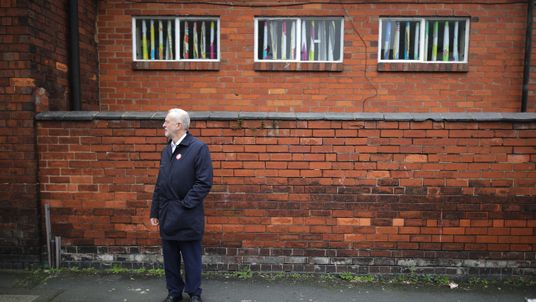 British Labour party leader Jeremy Corbyn campaigns on the streets of Longton in the Stoke-On-Trent Central by-election with Labour candidate Gareth Snell on February 18, 2017 in Stoke-On-Trent