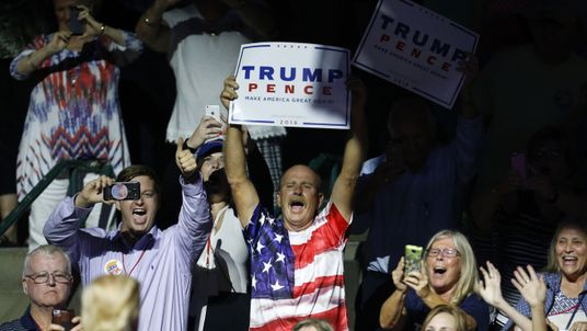 Supporters cheer for Republican Presidential nominee Donald Trump during a campaign rally at the Mississippi Coliseum on August 24, 2016 in Jackson, Mississippi