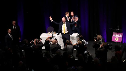 UKIP leader Paul Nuttall waves after his speech at the party's conference