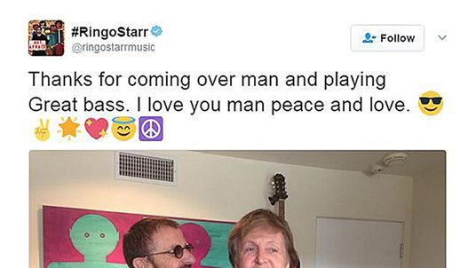 Paul and Ringo were in the studio together over the weekend working on the latter's latest album. Pic: Ringo Starr/Twitter