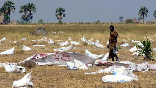 An aid drop in South Sudan during a ceasefire in the civil war in 2004. File pic