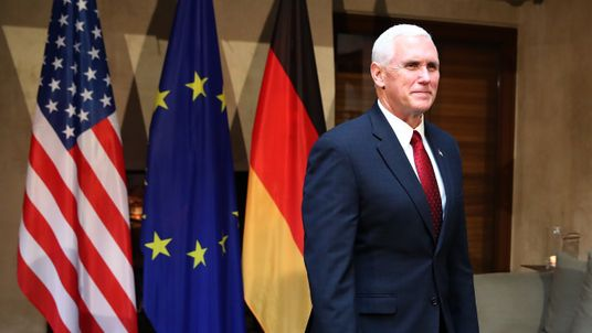US Vice President Mike Pence before a meeting with Angela Merkel