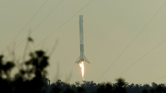 The Space X rocket lands at Kennedy Space Center