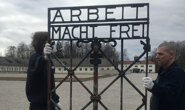 Stolen Nazi concentration camp gate returned to Dachau