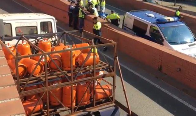 Barcelona police fire shots to stop speeding gas tank truck