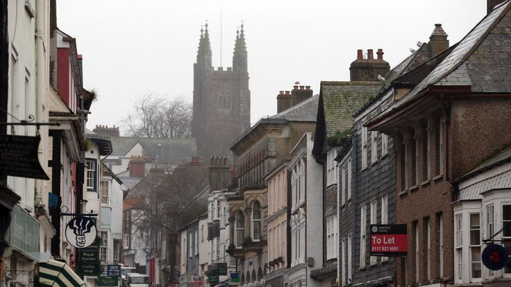 A general view of the main shopping street of Totnes