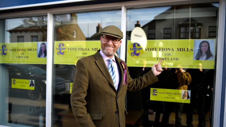 Paul Nuttall outside UKIP's Copeland by-election office
