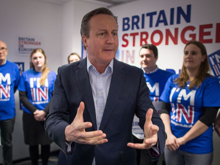 David Cameron addresses activists at the Britain Stronger In Europe HQ