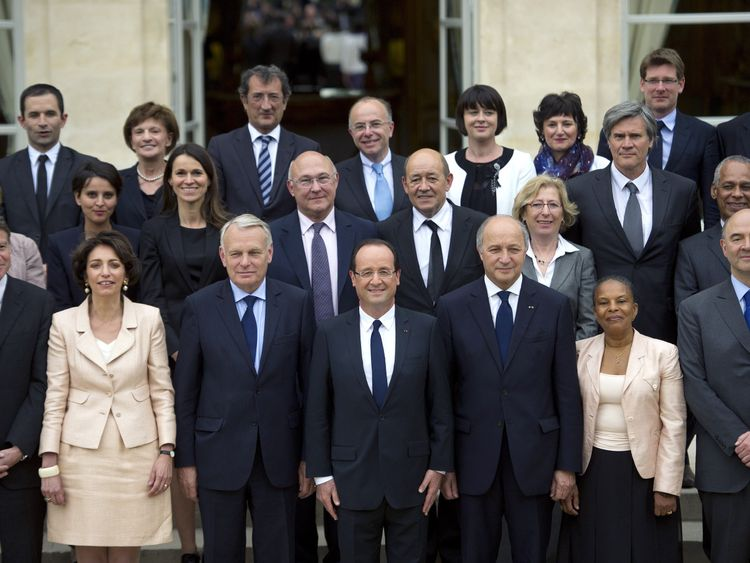 Mr Hamon (back left) spent more than two years in the president's cabinet