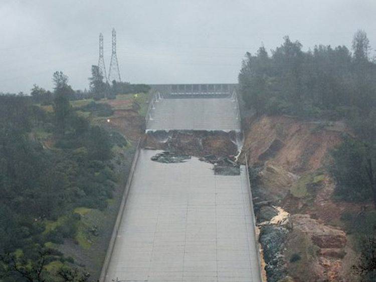 A 30ft hole appeared in the spillway after heavy rainfall