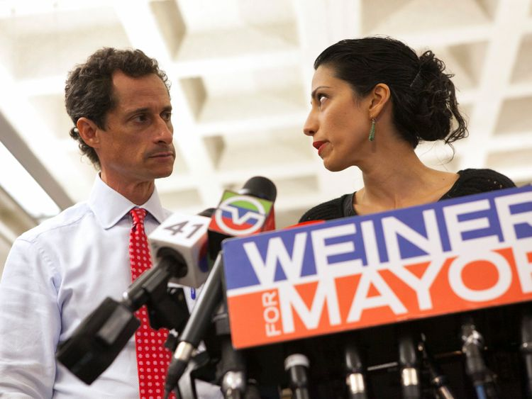 Weiner and mother Huma Abedin during a news discussion in 2013