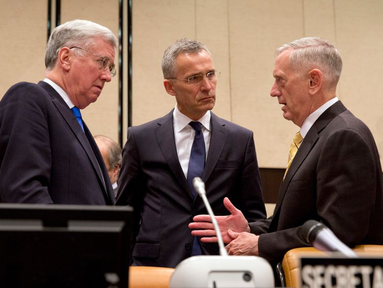 (L-R) Michael Fallon, Jens Stoltenberg and James Mattis
