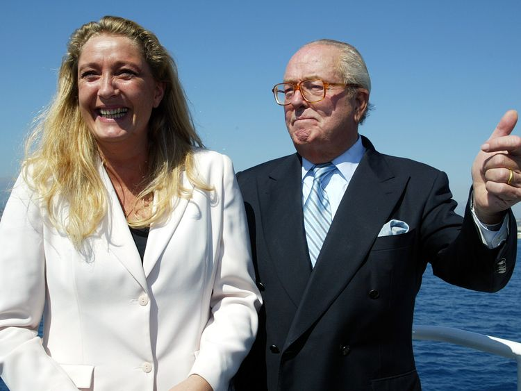 Marine Le Pen with her father during a regional-election campaign in 2003