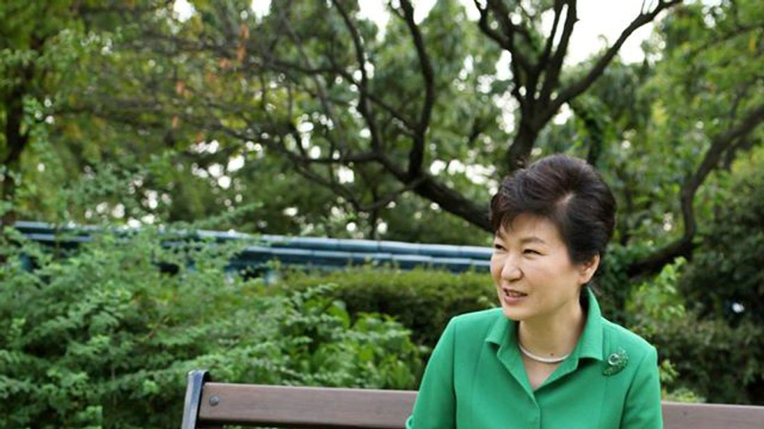 Former South Korea president Park Geun-hye with her pet dogs in 2015