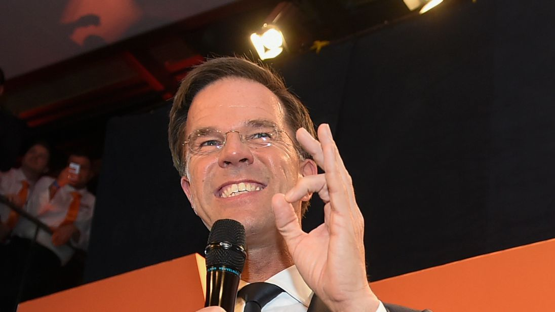 Mark Rutte celebrates after winning the general elections
