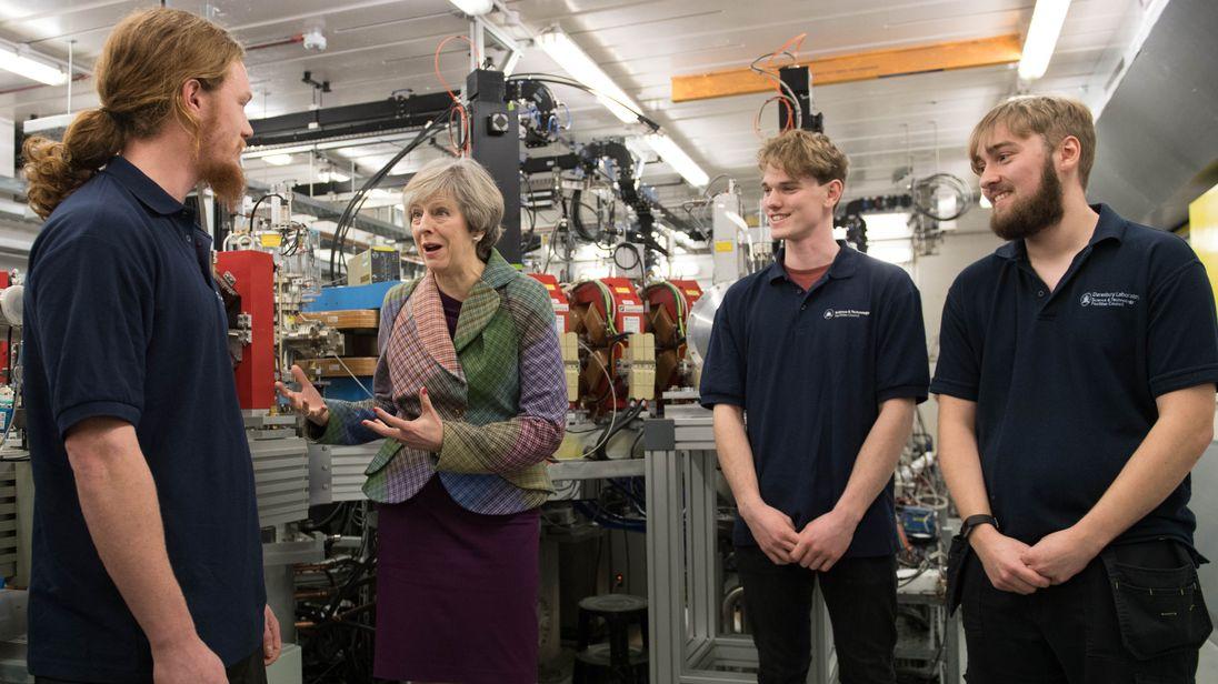 Theresa May in Warrington on 23 January