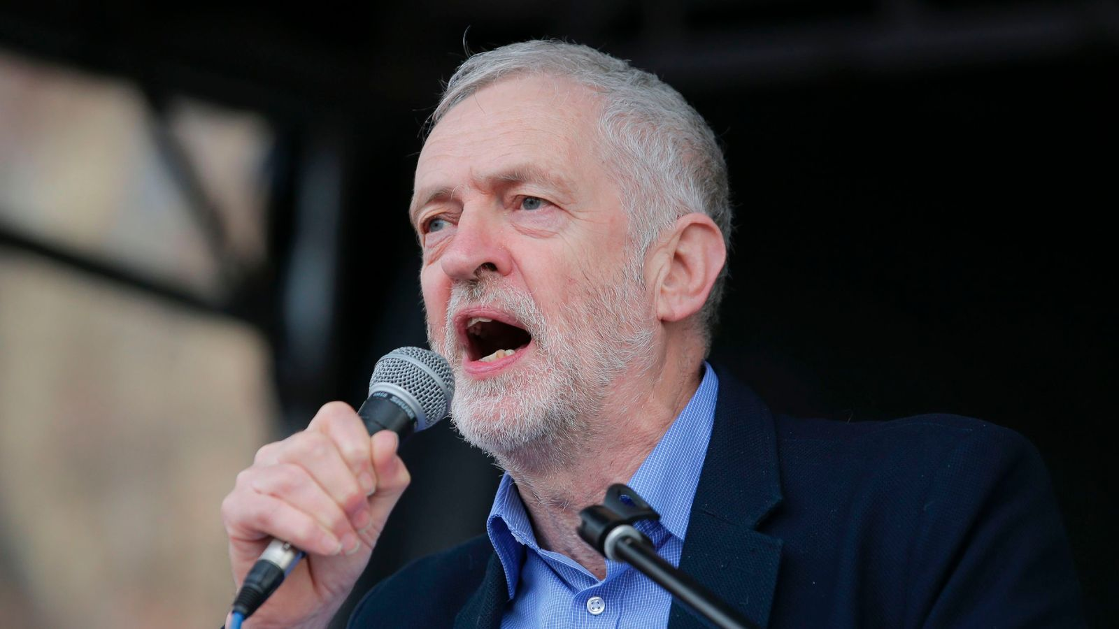 Jeremy Corbyn addresses an NHS rally in London