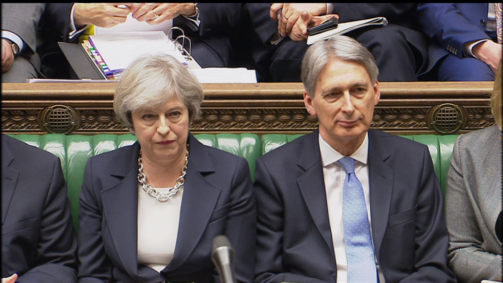 Theresa May with Chancellor Philip Hammond at PMQs