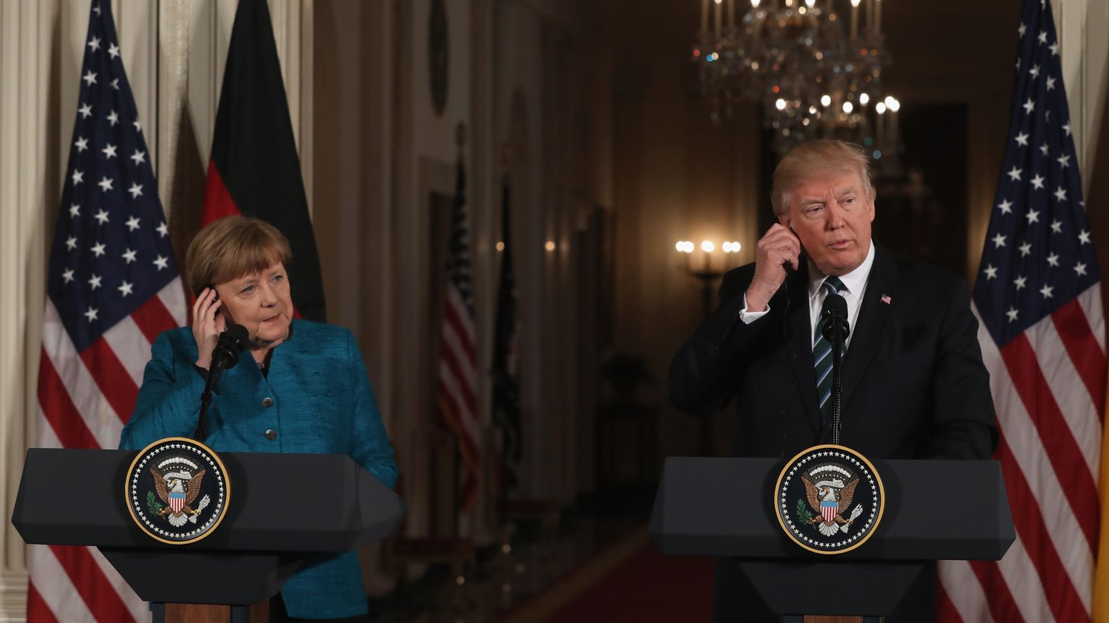 Angela Merkel and Donald Trump and the White House