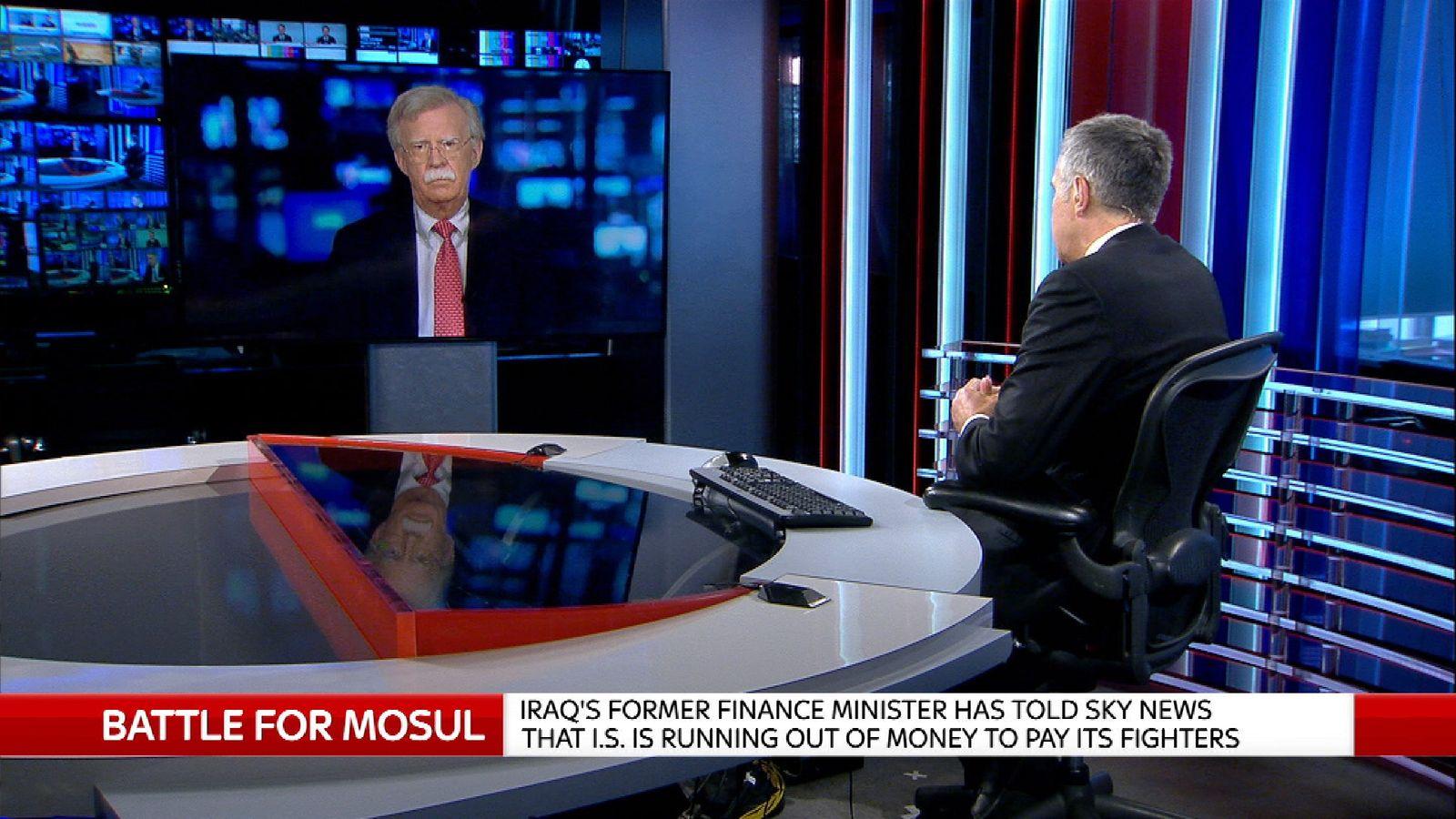 Former US Ambassador to the UN John Bolton being interviewed by Sky's Dermot Murnaghan