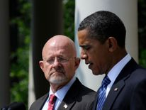 US President Barack Obama (R) names retired U.S. Air Force General James Clapper as his pick to fill the vacant director of national intelligence post in an announcement in the Rose Garden at the White House in Washington, June 5, 2010