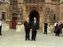 Gerry Adams and Martin McGuinness pledged to fight the ban imposed on Sinn Fein at the House of Commons, 1997