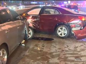 Some 34 vehicles are involved in two smashes in Chicago