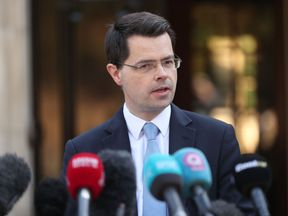 Northern Ireland Secretary James Brokenshire makes a statement outside his office at Stormont House after the breakdown of powersharing talks that has pushed Stormont's beleaguered devolved institutions further into crisis