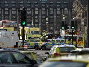 Emergency services respond after the terror attack on Westminster Bridge in London, Britain March 22, 2017. REUTERS/Hannah McKay