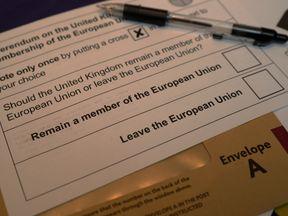 A polling card for the EU referendum