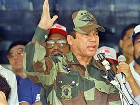 General Manuel Antonio Noriega speaking in 1988 in Panama City