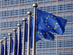 EU flags fly outside the bloc's parliament
