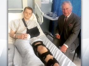 Travis Frain was visited in hospital by Prince Charles