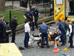 The suspected Westminster attacker being tended by medics