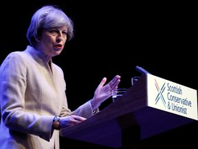 Theresa May addresses the Conservative Party's Scottish conference in Glasgow