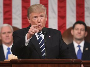 Donald Trump addresses a joint session of Congress in Washington DC