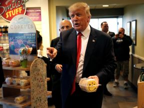 October 2016: Mr Trump stops for cookies in Moon Township, Pennsylvania, during the election campaign