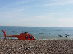 The plane crashed very close to the beach near Shoreham